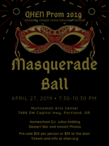 PromApril 27 Masquerade Ball