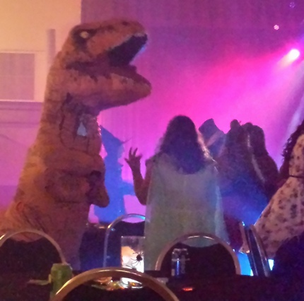 teen t-rex, witch, cleopatra at dance